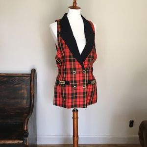 Vintage Plaid Double Breasted Tuxedo Vest